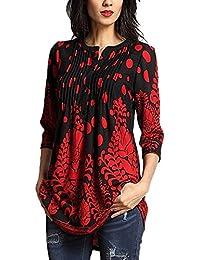 HOUSWEETY Damen Henry Kragen Blumige Casual T-Shirt Bluse Oberteil