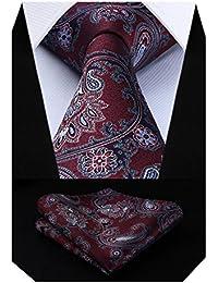Hisdern Paisley Floral Nuptiale Cravate Cravate Mouchoir Cravate Hommes    Pocket Carre ensemble 1ebaae7dac8