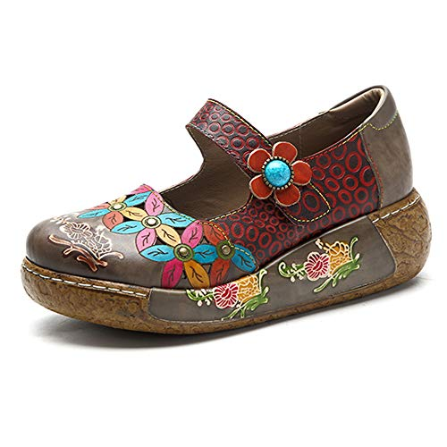 Socofy Damen Pantoletten, Sandalen Slip-Ons Sommer Leder Pantoffel Vintage Slipper Clogs High-Top Blume Espadrilles Schuhe Loafer Hausschuhe (40 EU, Grau) -