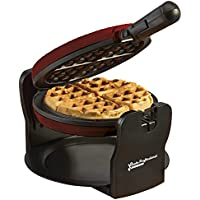 Belgian Waffle Maker Rotary Electric Iron 180° with Non Stick Coated Cooking Plates, 920W (Retro red)