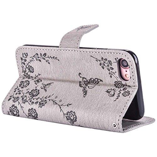 MOONCASE iPhone 7 Étui, Fleur Papillon Imprimer Gaufrage Faux Brillant Diamant Strass Bookstyle Housse en Cuir rabat Case avec Porte-cartes Fentes Portefeuille Béquille Magnétique Fermeture pour iPhon Gris