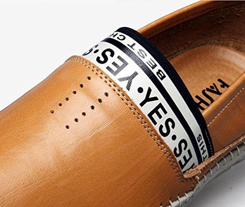 Gentleman's Loafers Confortable lettre Décoration en cuir Slip-ons Low Top Non glissé Logable Fashion Soft Soles Leisure Shoes EU Taille 39-44 yellow brown