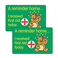 96 I Received First Aid Today Head Bump Teddy Bear Health And Safety Childrens Pupils School Teachers Stickers 46x30mm Primary Teaching Services