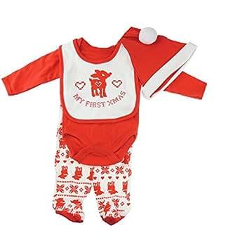 Super Cute Baby ragazze regalo di natale 4pezzi set bavaglino, Body a maniche lunghe, pantaloni e cappello Reindeer 0-3 mesi