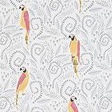 Weißer Stoff mit Blättern und Papageien von Dear Stella