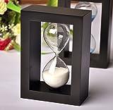 edealyn Fashion Home Decor Holz Rahmen 45Minuten Sanduhr Glas Sand Timer Sand Uhr Timer für Küche, holz, Black Frame White Sand