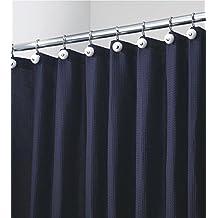 mDesign cortina ducha de poliéster y algodón - Cortina de baño con 12 anillas de metal inoxidable - Cortina bañera color azul marino