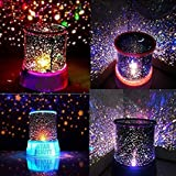 Plastic Star Projector Romantic LED Night Light 360 Degree Rotation 4 LED Bulbs 9 Light Color Changing with USB Cable (Multicolour)