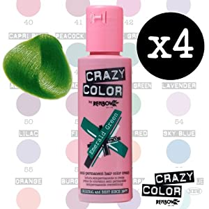 Crazy Colour Semi Permanent Hair Dye By Renbow Emerald Green No.53 (100ml) Box of 4