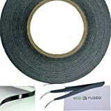Adhesive Sticker Tape for Use in Cell Phone Repair - 2mm - also including 1 Pair of Tweezers / ECO-FUSED Microfiber Cleaning Cloth (Black)