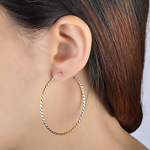 Infinite U 925 Argent Ondulée Vague Or et Argent Anneaux Créoles Boucles d'oreilles pour Femme/Fille Tailles Différentes en Option Argent (L)