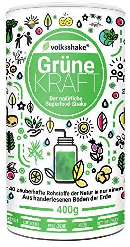 Volksshake Grüne Kraft -Smoothiepulver- die natürliche Superfood Formel, über 40 bezaubernde Naturstoffe wie Weizengras, Gerstengras, Moringa, Maca,Ashwagandha, OPC &viel mehr, 400g - entspricht 600g