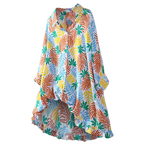 iYmitz Damen Hemd Langarmshirt Blätter Hemd Karohemd Hemdkleid Blusen Oversize Top Shirtkleid Große Größe Freizeit Streetwear(Mehrfarbig,EU-44/CN-2XL)
