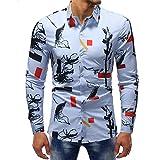 VEMOW Sommer Herbst Frühling Männer Business Hem Fashion Printed Bluse Casual Arbeit Dating Langarm Slim Shirts Tops(Mehrfarbig 10, EU-54/CN-2XL)