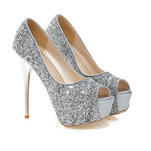 YE , Escarpins peep-toe femme silver