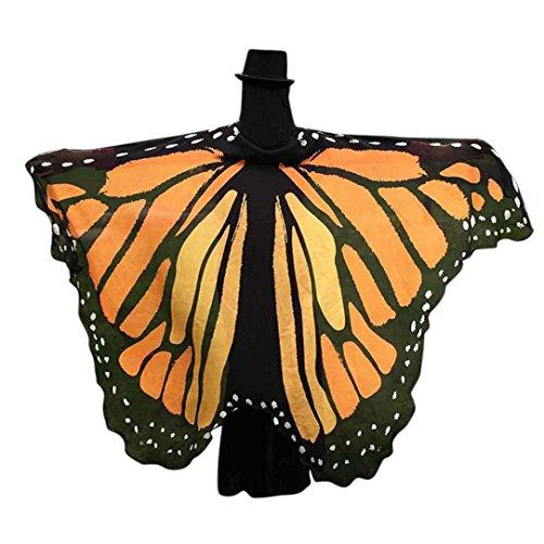 Lenfesh Atractiva Eye-Catching Gigantes Chal de alas de mariposa Disfraz de desfile de fiesta de hadas elfo,197 x 125CM (Naranja)
