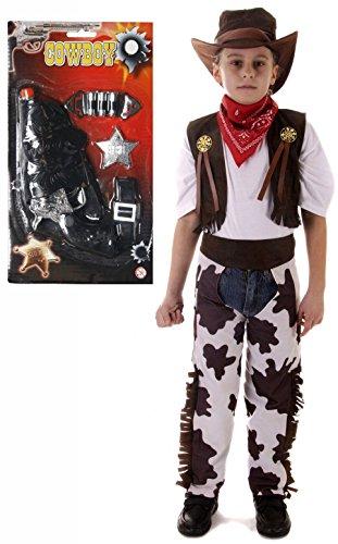 Und Kostüme Chaps Set Weste (Jungen Kostüm Cowboy, 7-teiliges Set-Alter 3-12)
