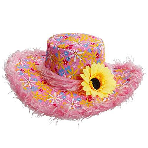Sonnenblumen Hut (Widmann 2598E - Hut Ibiza mit Plüschrand und Sonnenblume für Erwachsene, One)