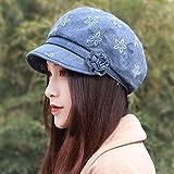 XINQING-MZ Hat fiori femminili beret cap in autunno e inverno fiore cappuccio Moda Fashion Cap nuovo video thin, blu