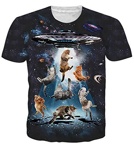 Adicreat T-Shirt Herren Frauen 3D Katze Sommer Casual Kurzarm T-Shirt