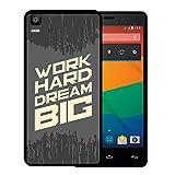 Bq Aquaris E5s - E5 4G Hülle, WoowCase Handyhülle Silikon für [ Bq Aquaris E5s - E5 4G ] Motivierungssatz - Work Hard Dream Big Handytasche Handy Cover Case Schutzhülle Flexible TPU - Schwarz