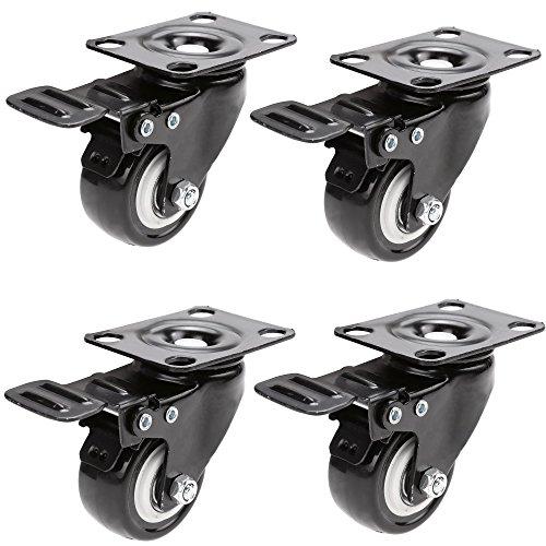 Homdox Ruote per Mobili Pivotanti Nere con Piastra di Assemblaggio e Cuscinetto a Sfere in gomma