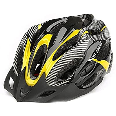 SODIAL (R)Road Bike Racing Bicycle Cycling Helmet Visor Adjustable Carbon Yellow from SODIAL(R)