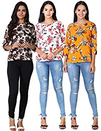 Lucy Casual 3/4th Sleeve Printed Women's Multicolor Top-(LCWBT036)   Women's Crepe Regular Top Combo Pack of 3