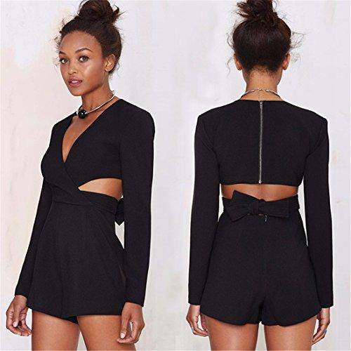 Femmes Noir Manches Longues Col V Taille Epaule Out Slim Combinaison Grenouilleres Xs-Xxl Noir