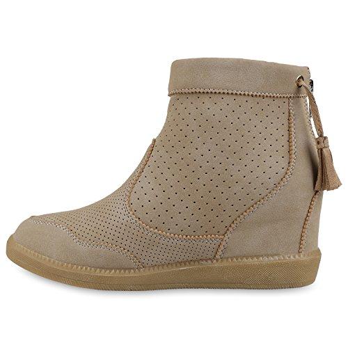 Damen Stiefeletten Keilabsatz Boots Quasten Keilstiefeletten Creme