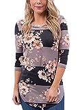 Walant Damen Langarmshirts Blumen T-shirt O-Ausschnitt Shirt Tops Bluse