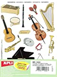 APLI Pochette de 12 feuilles gommettes Instruments de musique