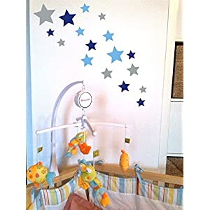 Tjapalo® 24 Stk Selbstklebende Sterne Aufkleber Set Blau Lichtblau Silber  Sterne Aufkleber Kinderzimmer Babyzimmer Sterne