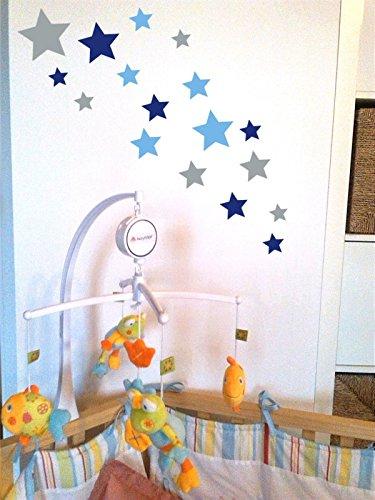 tjapalo® 24 Stk selbstklebende Sterne Aufkleber Set blau lichtblau silber Sterne Aufkleber Kinderzimmer Babyzimmer Sterne Jungen blaue Sterne Wandtattoo