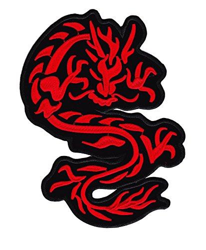 Aufnäher/Bügelbild - Roter Drache - 22 X 15 cm XL - Patches zum Aufbüglen Iron on Patch Embroidered Aufbügler Flicken Applikation Für Kleidung Jeans Hosen Jacken - Treasure-Quest