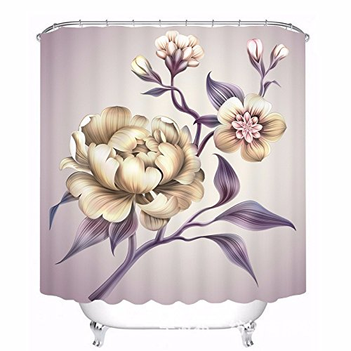 BYLE Kreative pfingstrose Blüten auf digitalen Stempel wasserdicht Duschvorhang, Breite 150 cmX 180 cm hoch Pfingstrosen Duschvorhang