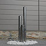 Edelstahl Gartenbrunnen ESB1 mit 100cm Höhe und 3 Säulen aus aufwendig poliertem Edelstahl und LED Beleuchtung Zierbrunnen für Garten