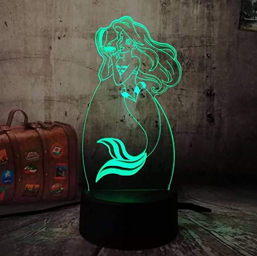 Kindertagesgeschenk Die Kleine Meerjungfrau Prinzessin 7 Farbwechsel 3D Led Baby Nachtlicht Schreibtischlampe Wohnkultur Party Kinder Spielzeug