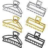 6 Pezzi Metallo Capelli Artiglio Clip Capelli Cattura Barrette Antiscivolo Cavo Mascella Vuoto per le Donne Ragazze, Quadrato e Forma a Ventaglio, 3 Colori