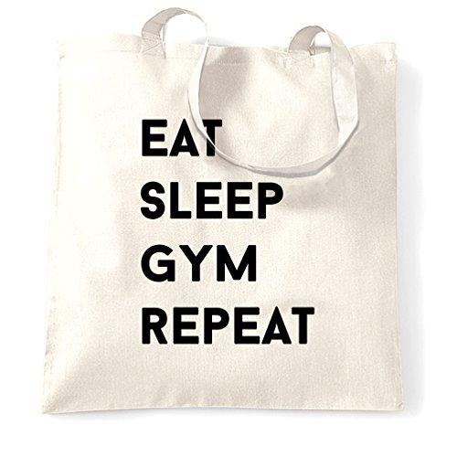 Eat Sleep Palestra Ripetere hobby idoneità muscoli elevatori della proteina Sacchetto Di Tote White