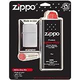 Zippo chromé brossé tout en un kit