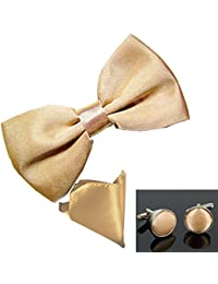 New sSendmart Plain Pre-Tied Satin Bow tie + Cufflink + Pocket Square - Various Colours
