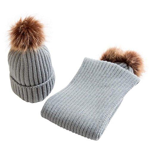 Fuibo Baby Schal Mützen, Baby Nette Winter Kinder Baby Hüte Warm Halten Set Nette Hut Schal (Grau)