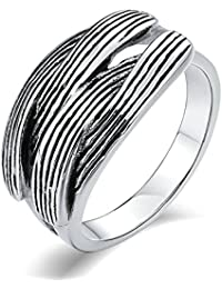 Aooaz Gioielli anello fascia anello acciaio uomo anticato finitura Croce tessuta anello gotico anelli fidanzamento anello biker