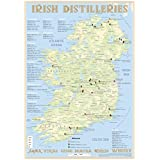 Whiskey Distilleries Ireland - Tasting Map 24x34cm: Irish Whiskey Distilleries Map