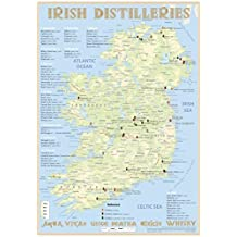 Whiskey Distilleries Ireland - Tasting Map 24x34cm: Irish Whiskey Distilleries Map
