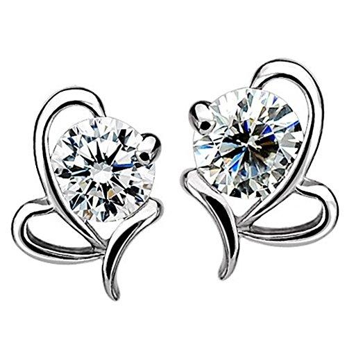 Orecchini Amesii da donna in argento sterling 925,a forma di cuore rotondo, con zircone
