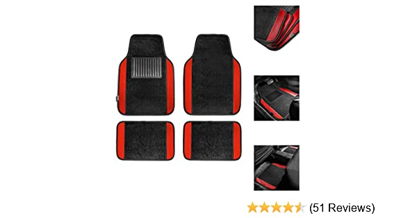 TLH Carpet Floor Mats with Colored Trim Red Color