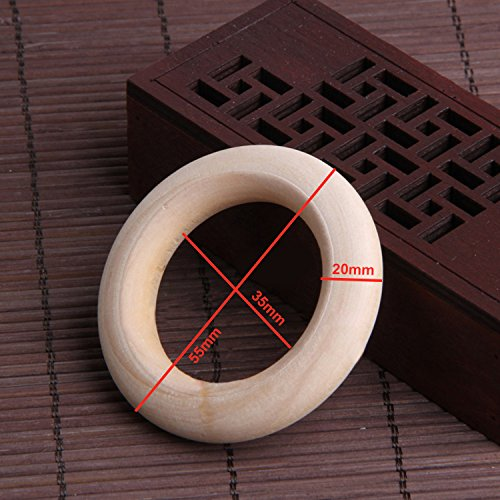 Natural Wood Rings - Wooden Ring, Unfinished Wooden Circle 50 Pack For Craft Home DIY Jewelry Making Accessory, Ring Pendant Connectors