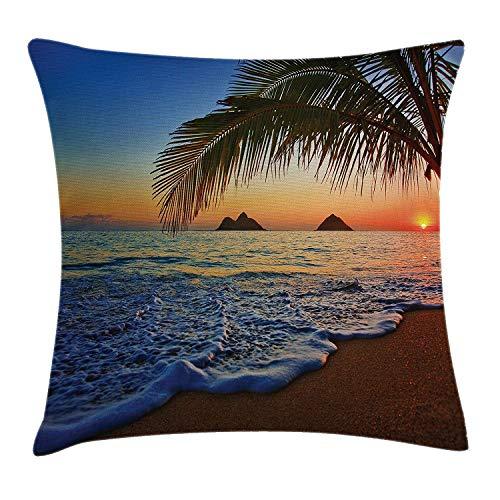 beautiful& Hawaiian Pillow case Pacific Sunrise Lanikai Beach Hawaii Colorful Sky Wavy Ocean Surface Scene Throw Pillow Covers 20x20 Inches (Pacific Beach Bars Halloween)